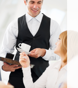 mystery shopping company photo of waiter pouring coffee